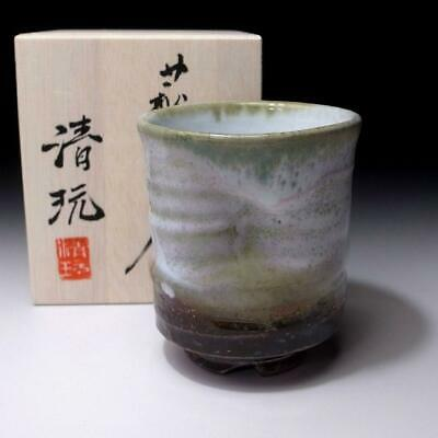 EB19: Japanese Pottery Sencha Tea Cup, Hagi Ware by Famous Potter Seigan Yamane