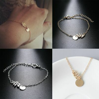 2PCS/Pack New Charm Gold Silver Women Bangle Jewelry Hand Chain Leaves Bracelet