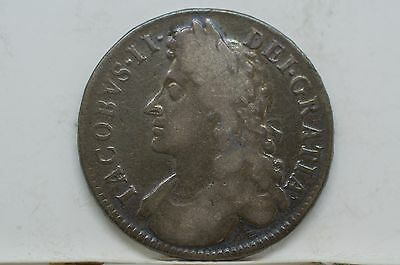 1685 Great Britain 1/2 Crown Silver , first bust of James II