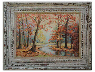 Original Oil Painting Autumn Fall Trees Landscape Signed Betty Moss Framed