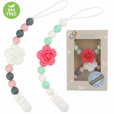 Baby Pacifier Chain Clip Silicone Beads Soother Teething Nipple Holder BPA Free