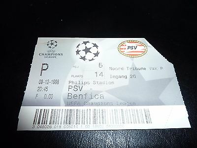 used ticket psv eindhoven - benfica   09/12/1998