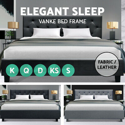 Artiss King Single Double Queen Size Bed Frame Base Mattress Fabric Wooden Grey
