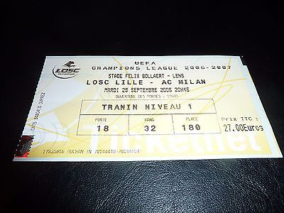 used ticket lille osc - ac milan  26/09/2006