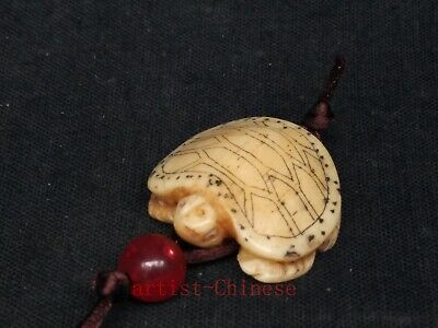 Collection Antique Chinese Hand Carving Lovely Turtle Statue Necklace Pendant
