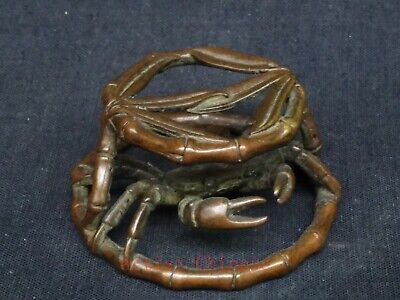Unique Collection Ancient Chinese Copper Carving Crab Bamboo Pedestal Decoration