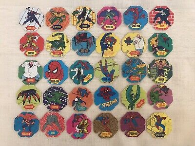 Complete Collection 30 Spiderman Tazos/Pogs - Spider Bn Marvel 1996