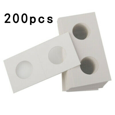 200x Coin Holders Display Money Penny Set Cardboard 40mm White Paper Protection