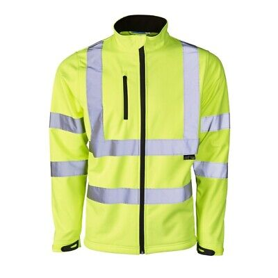 Size LARGE High Visibility Yellow Soft Shell Jacket Breathable Shower Proof New