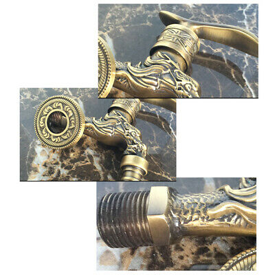 Dragon Carved Antique Style Brass Cold Water Faucet Sink Tap Wall Mounted