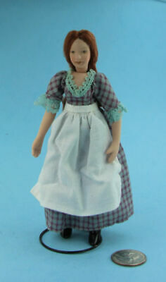 DOLL HOUSE MINIATURE PORCELAIN COUNTRY  MAID DOLL POSEABLE