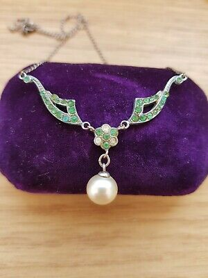 132 Antique  Art Deco Silver green paste pearl pendant READ DESCRIPT