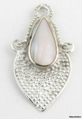 Mother of Pearl Drop Pendant - Sterling Silver 925 MOP Bead Accents Estate Charm