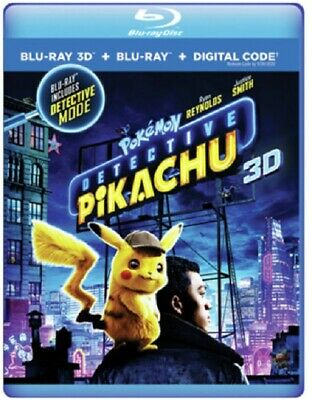 Pokemon Detective Pikachu (Ryan Reynolds Chris Geere Rita Ora) New 3D Blu-ray