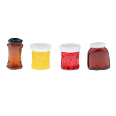 4pcs 1/12 Scale Jam Jars Bottles Dolls House Miniature Food Bottles