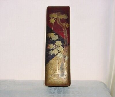 INTENSELY Magnificent LACQUER WOOD Golden Trees BOX Old JAPANESE Art with WEAR