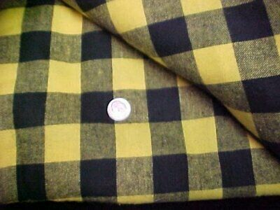 Cotton Flannel Fabric Quilt Sew Material Sew Crafts Buffalo Check Yellow Black 3
