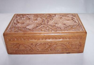Vintage Carved WOODEN JEWELLERY Trinket BOX Decorative Leaf Wood Carving