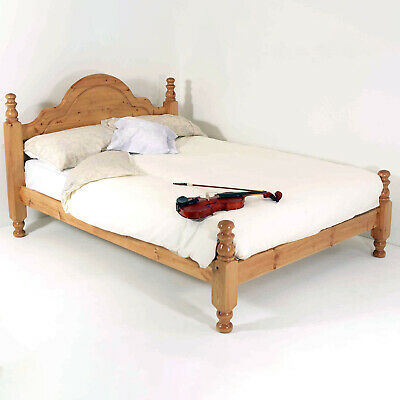 4FT6 Double Solid Pine Bed Frame THE HILTON Bed With High Foot End