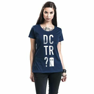 Ladies Doctor Who DCTR Blue Fitted T-Shirt - Womens Retro TV BBC Series