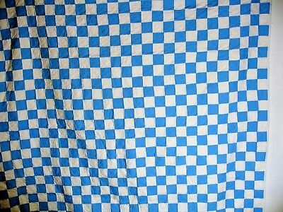 Q21  Blue and White Patchwork Quilt, Machine Quilted, 78 X 72 inches