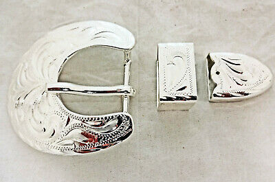 Oklahoma 3 Piece Buckle Set Hansen Western Silver Plate Horse Tack New Sizes