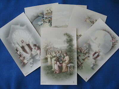 Lot of 6 Pretty Catholic Antique Vintage LARGE HOLY CARDS Old Italian Art