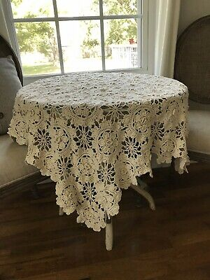 Vtg Crocheted Cotton Square Table Cloth Topper Doily Lace French Cottage Rose
