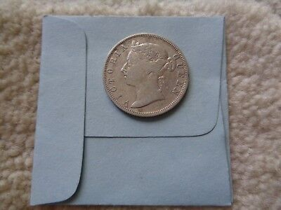 1896 Straits Settlements 20 cents silver coin
