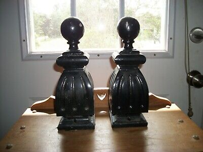 Pair of Vintage Antique Cast Iron Ball Fence Hitching Post Finials Toppers 8 lbs