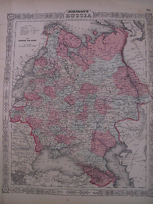 Hand Colored Map Johnson's Atlas Russia Moscow Warsaw St. Petersburg 1863