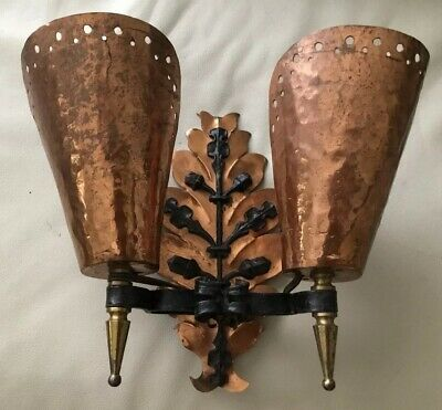 Arts And Crafts Mission Hand Hammered Copper And Blacksmith Iron Wall Sconce