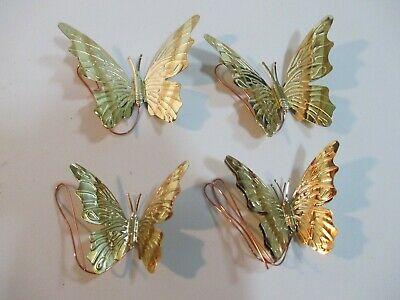 "Set 4 Vintage Brass 4"" Miniature Wall Hanging Butterflies"