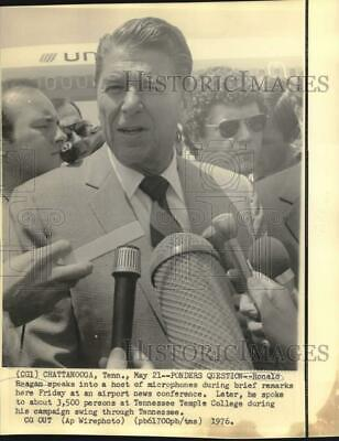 1976 Press Photo Ronald Reagan, presidential hopeful, arrives in Tennessee