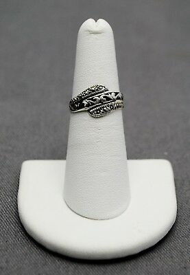 Sterling Silver Art Deco Band W Hematite Accents 5.5 #Fma304
