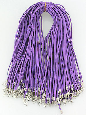 Wholesale 10pcs Purple Suede Leather String 20 inches Necklace Cords