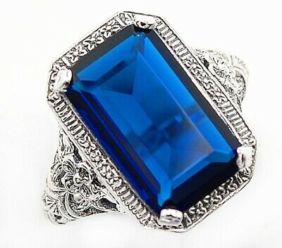 10CT Blue Sapphire 925 Solid Sterling Silver Art Deco Ring Jewelry Sz 6