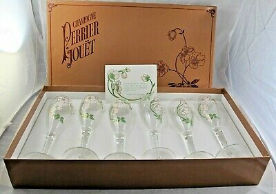 Six Handblown Perrier Jouet Champagne Flutes Glasses Original Box France