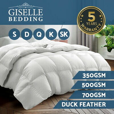Giselle Duck Down Feather Quilt All Season Duvet Cover Doona 350/500/700GSM
