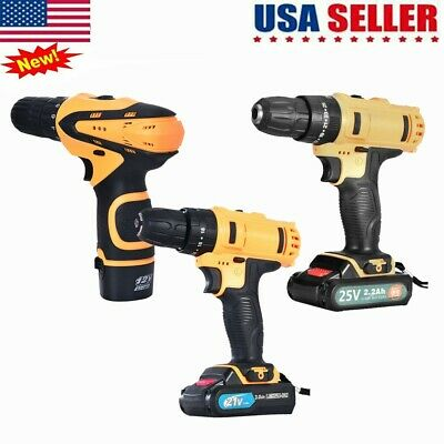 4-Types Drill 2 Speed Electric Cordless Drill/Driver With Bits Set & Battery US