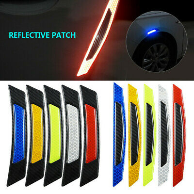 2Pcs Reflective Safety Mark Strips Car Door Stickers Warning Tape Auto Decal Set