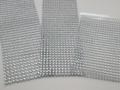 3 Sheets Clear 4mm 5mm 6mm Round Self-Adhesive Acrylic Rhinestones Stickers