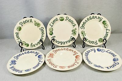 """LOT of 6 Wood & Sons Country CRANBERRY, Mixed Blue + Green Salad Plates 8"""""""
