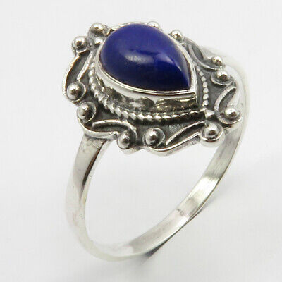 Lapis Lazuli Ancient Style Ring Size 11 925 Pure Silver New Gemstone