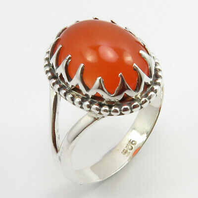 925 Solid Silver Carnelian Prong Setting Ring Size 7.75 Ladies Gift Jewelry