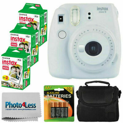 Fujifilm Instax Mini 9 Instant Camera Smokey White + 60 Film + Case + Batteries
