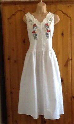 "Lovely Cotton Summer Dress From "" St Michael"" Vintage White & Embroidery 12 Vgc"