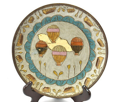 "Brass HOT AIR BALLOONS Collectors Plate Enameled Inlay 7 3/4"" India"