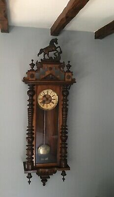 Antique VIENNA  WALL CLOCK With horse approx 5ft collect only Shropshire