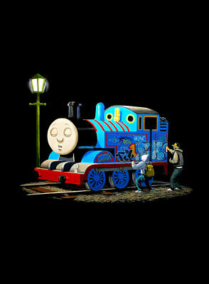 """BANKSY Thomas the Tank Engine Tagged A3 CANVAS PRINT Poster portrait 18""""X 12"""""""